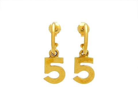 Vintage Chanel stud earrings No.5 dangle