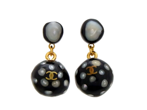 Vintage Chanel stud earrings CC logo black ball dangle