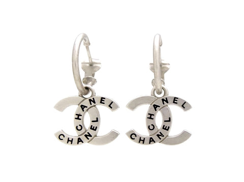 Vintage Chanel stud earrings CC logo dangle silver color