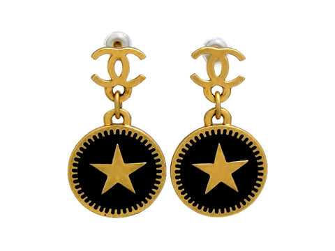 Vintage Chanel stud earrings CC logo star round dangle black