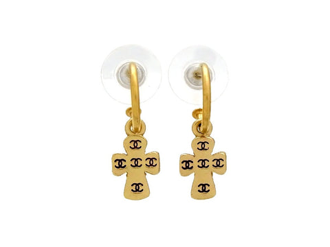 Vintage Chanel stud earrings CC logo cross dangle
