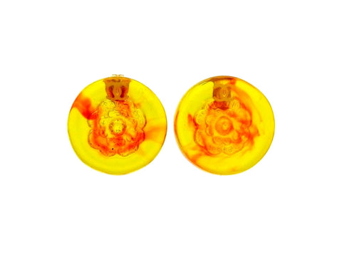 Vintage Chanel stud earrings CC logo camellia orange