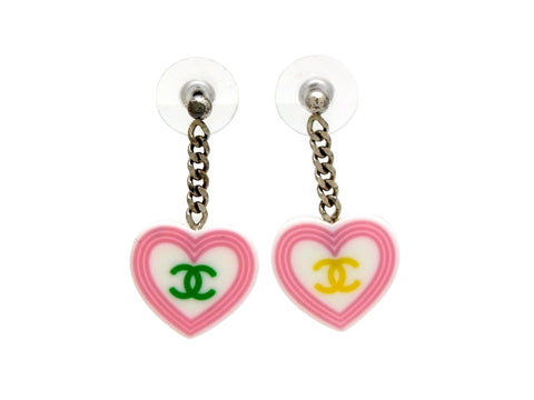 Vintage Chanel stud earrings CC logo heart dangle