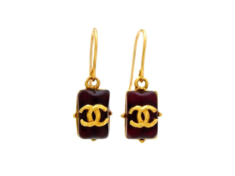 Vintage Chanel stud earrings CC logo red stone dangle