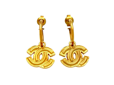 Vintage Chanel stud earrings CC logo dangle