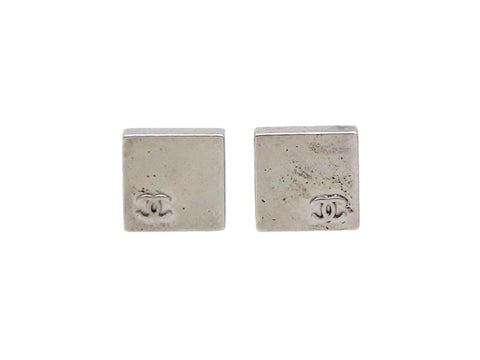 Vintage Chanel stud earrings CC logo metallic square