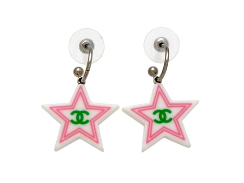 Vintage Chanel stud earrings CC logo plastic star dangle