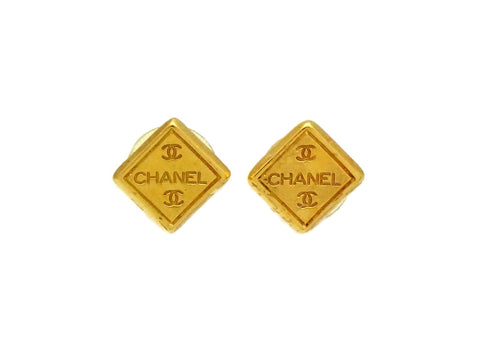 Vintage Chanel stud earrings CC logo rhombus gold tone