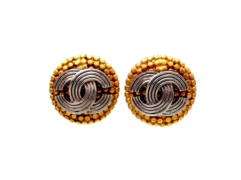 Vintage Chanel stud earrings CC logo round