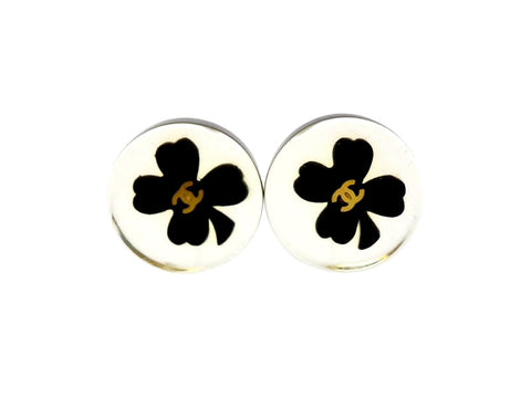 Vintage Chanel stud earrings CC logo clover plastic