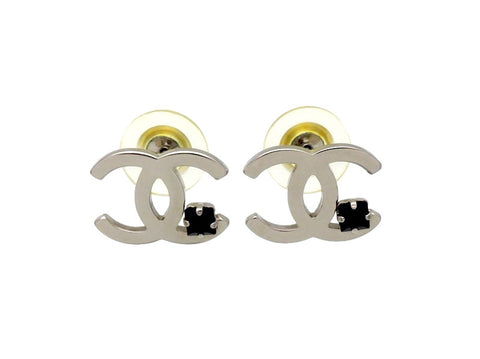 Vintage Chanel stud earrings CC logo black stone