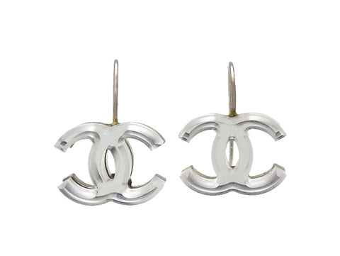 Vintage Chanel stud earrings plastic mirror CC logo dangle