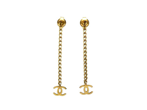 Vintage Chanel stud earrings small CC logo chain dangle