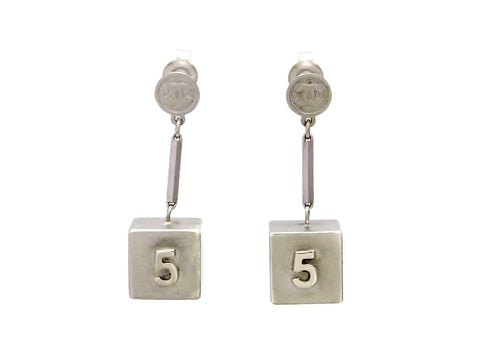 Vintage Chanel stud earrings No. 5 cube dangle metallic color