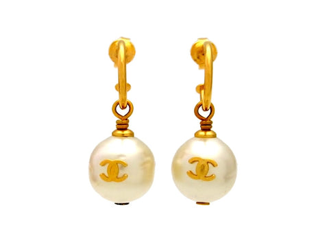 Vintage Chanel stud earrings pearl dangle
