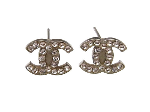 Vintage Chanel stud earrings CC logo rhinestone