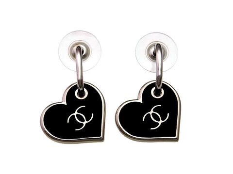 Vintage Chanel stud earrings CC logo black heart dangle