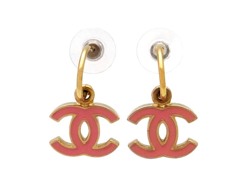 Vintage Chanel stud earrings pink CC logo dangle