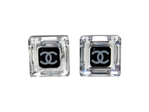 Vintage Chanel stud earrings CC logo rhinestone square