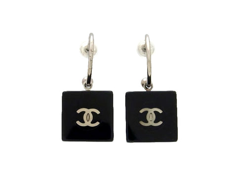 Vintage Chanel stud earrings CC logo button black cube