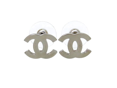 Vintage Chanel stud earrings CC logo silver color