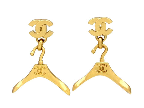 Vintage Chanel stud earrings CC logo hanger dangle
