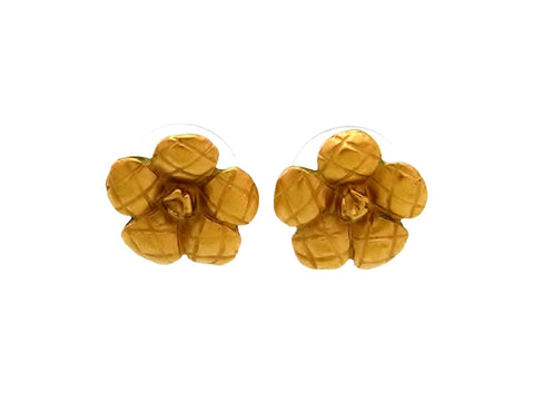 Vintage Chanel stud earrings camellia gold tone