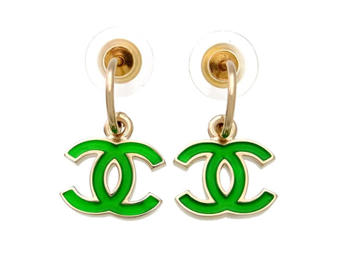 Vintage Chanel stud earrings green CC logo dangle