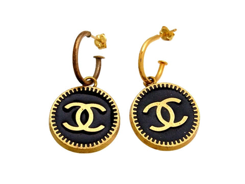 Vintage Chanel stud earrings CC logo black round dangle