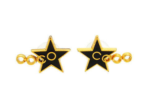 Vintage Chanel stud earrings COCO black star