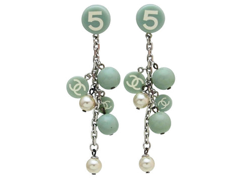 Vintage Chanel stud earrings No. 5 CC logo faux pearl dangle