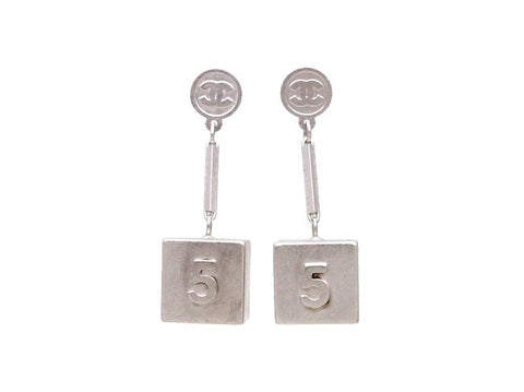 Vintage Chanel stud earrings No.5 box CC logo dangle