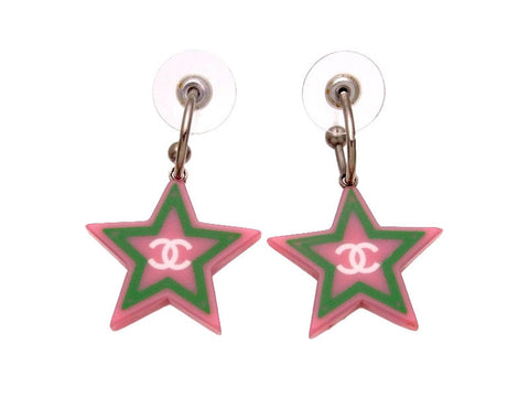 Vintage Chanel stud earrings CC logo star dangle