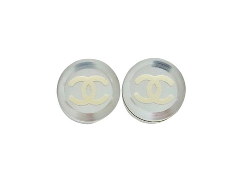 Vintage Chanel stud earrings CC logo mirror round