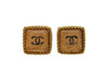 Vintage Chanel stud earrings CC logo pink glass square