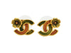 Vintage Chanel stud earrings CC logo flower double C