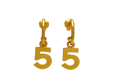 Vintage Chanel stud earrings No.5 dangle gold tone