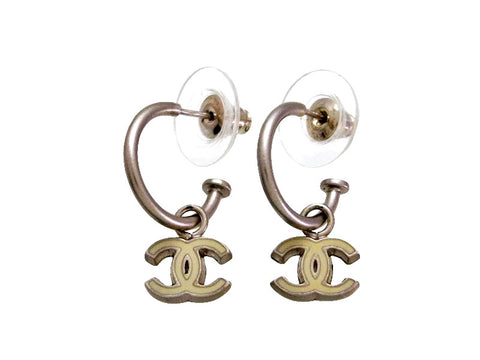 Vintage Chanel stud earrings white CC logo dangle