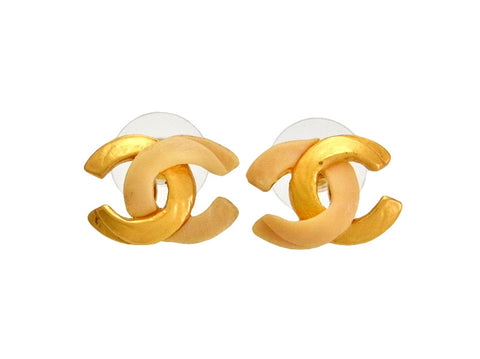 Vintage Chanel stud earrings CC logo gold and off-white color