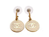 Vintage Chanel stud earrings CC logo white round dangle