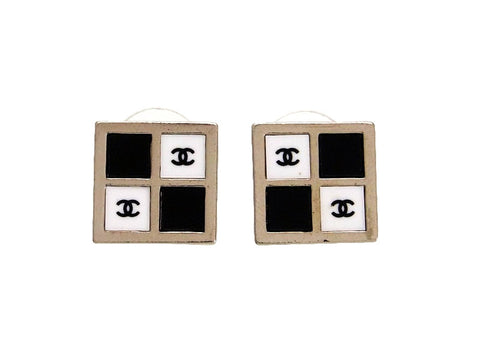 Vintage Chanel stud earrings CC logo black white square