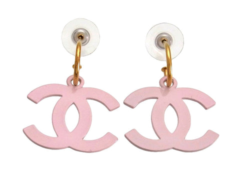 Vintage Chanel stud earrings white pink CC logo dangle