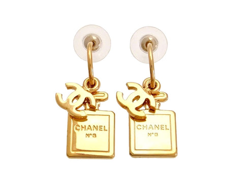 Vintage Chanel stud earrings CC logo No.5 perfume bottle dangle