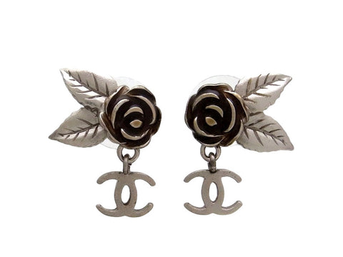 Vintage Chanel stud earrings camellia CC logo dangle