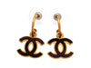 Vintage Chanel stud earrings wood CC logo dangle