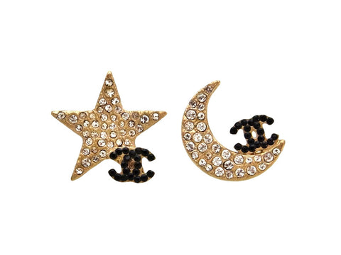 Vintage Chanel stud earrings CC logo crescent moon star