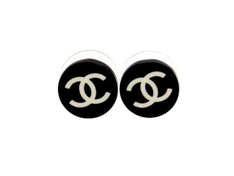 Vintage Chanel stud earrings CC logo black round