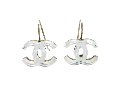 Vintage Chanel stud earrings CC logo mirror dangle