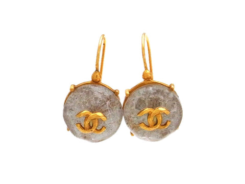 Vintage Chanel stud earrings CC logo glass stone dangle