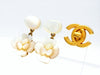 Vintage Chanel stud earrings white shell flower dangle